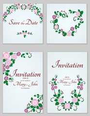 A set of invitations with ornament in the Slavic folk style. For used for web, wallpaper, printing on the paper.