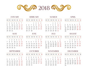 Vector calendar for 2018 on white background.