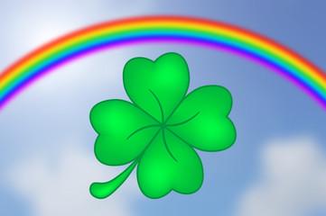 Vierblättriges Kleeblatt mit Regenbogen und Himmelhintergrund
