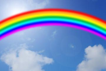 Blauer Himmel mit Regenbogen