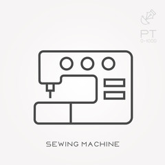 Line icon sewing machine