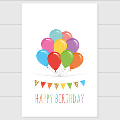 Birthday card template with colorful balloons