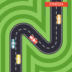 Car Racing in flat style. Winding road and sport car icons. Top View Background. Vector illustration.