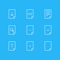 Vector Illustration Of 9 Page Icons. Editable Pack Of Question, Plus, Document And Other Elements.