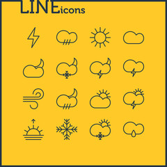 Vector Illustration Of 16 Atmosphere Icons. Editable Pack Of Sunset, Lightning, Cloud And Other Elements.