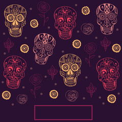Vector background  with mexican skulls. Day of the dead
