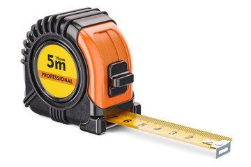 Orange tape measure, 3D rendering