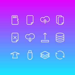 Vector Illustration Of 12 Memory Icons. Editable Pack Of Upward, Datacenter, Synchronize And Other Elements.