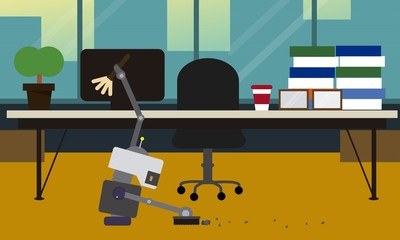 Domestic robot cleaning office room. Personal robot housekeeping futuristic concept illustration vector.