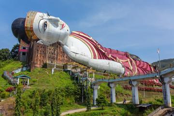 Win Sein Taw Ya, the largest Reclining Buddha image in the world, in Kyauktalon Taung, near Mawlamyine, Myanmar.