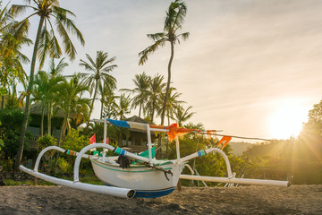 Traditional balinese boat on the beach in Bali, Indonesia