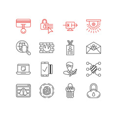 Vector Illustration Of 16 Privacy Icons. Editable Pack Of Safe Storage, Finger Identifier, Network Protection And Other Elements.