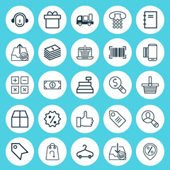 Ecommerce Icons Set. Collection Of Dollar Banknote, Withdraw Money, Spiral Notebook And Other Elements. Also Includes Symbols Such As Discount, Parcel, Calculator.