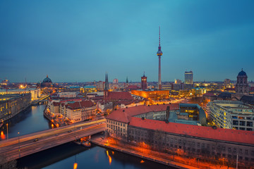 Aerial view of Berlin at night: Spree river, museum island, alexanderplatz and tv tower, Germany