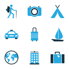 Traveling Colorful Icons Set. Collection Of Earth, Hotel, Photo Device And Other Elements. Also Includes Symbols Such As Taxi, Man, Boat.