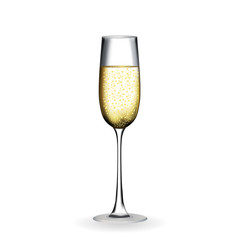 Naturalistic glass with festive champagne. Vector Illustration.