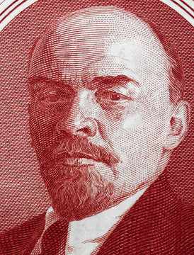Vladimir Lenin portrait on old Russia ruble banknote macro, leader of Russian Revolution 1917