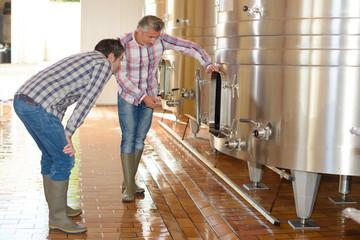 men checking vats