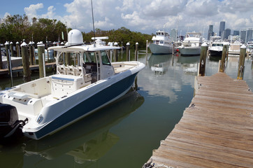 Sport fishing boat moored at a marina on Key Biscayne,Florida
