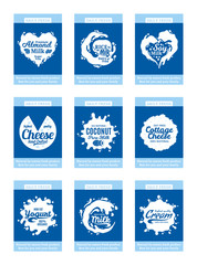 Vector milk products cards