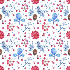 watercolor seamless pattern with floral elements on white background. Hand painted branches, flowers, plants and berries. Can be use in winter holidays design, posters, invitations, cards