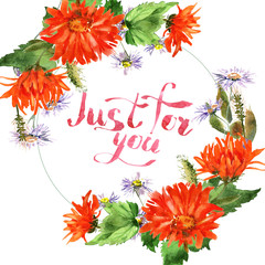 Romantic watercolor nasturtium flowers wreath