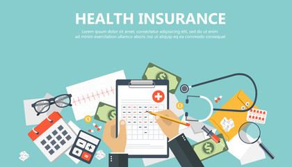 Health care insurance concept. Man fills in the form of health insurance. Flat vector illustration