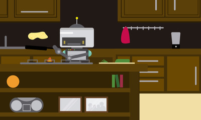 Domestic robot preparing omelette in pan at modern kitchen. Personal robot chef futuristic concept illustration vector.