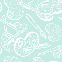 Brush and palette. Back to school illustration. Seamless texture background with pen. Doodle vector elements. Hand drawn sketch.