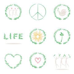 Set of conceptual icons. Symbols of life, nature, peace, love, health.
