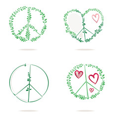 Set of four vector icons of a combination of peace symbol with heart and green foliage.