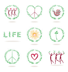 Set of vector icons. Concept images of life, nature, peace, love, health.