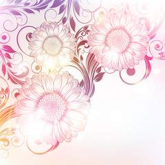 Hand drawn floral pattern with gerbera flowers. Vector illustration. Element for design.