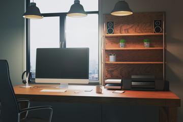 Creative desktop with empty display