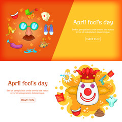 April Fools Day banner set template, cartoon style