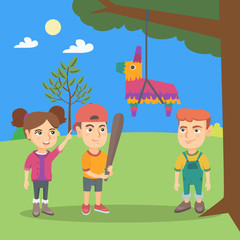 Young caucasian boy celebrating a birthday party with his friends and breaking a pinata with a baseball bat. Little boy hitting a pinata at outdoor party. Vector cartoon illustration. Square layout.