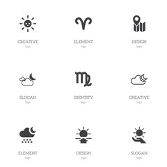 Set Of 9 Editable Climate Icons. Includes Symbols Such As Solar In The Palm, Virgin, Semidarkness And More. Can Be Used For Web, Mobile, UI And Infographic Design.