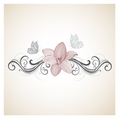 Hand-drawing  floral background with flowers lily. Element for design.