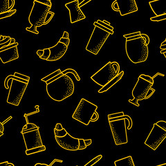 Seamless pattern on coffee theme. Outline design. Orange objects on black background. Vector illustration