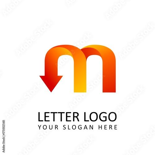 letter m logo template orange round ribbon with arrow head fotolia