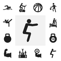 Set Of 12 Editable Lifestyle Icons. Includes Symbols Such As Weightiness, Training Pool, Instruction Male And More. Can Be Used For Web, Mobile, UI And Infographic Design.