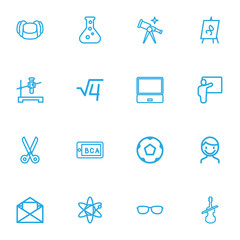 Set Of 16 Editable Teach Outline Icons. Includes Symbols Such As Flipchart, Molecule, Test Tube And More. Can Be Used For Web, Mobile, UI And Infographic Design.