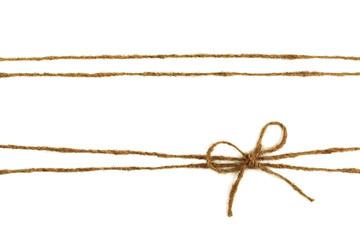 Burlap rope bow isolated on white background