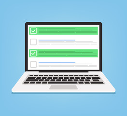 Laptop and checkboxes with check mark. Checklist concept. Vector flat cartoon illustration