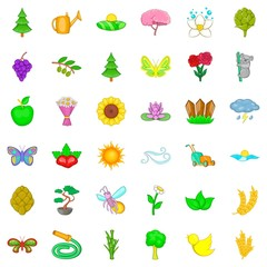 Blooming icons set, cartoon style