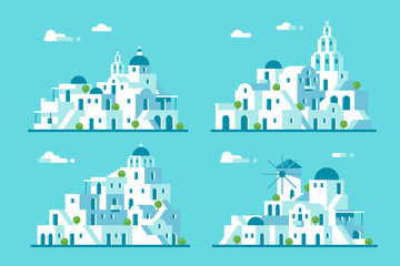 Poster Turquoise Flat design Santorini village set
