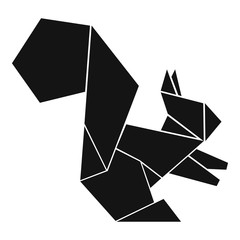Origami squirrel icon, simple black style
