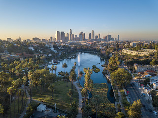 Photo sur Aluminium Los Angeles Drone view on Echo Park, Los Angeles