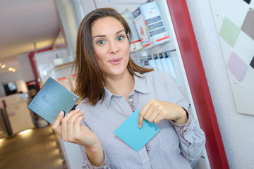 woman holding coupons