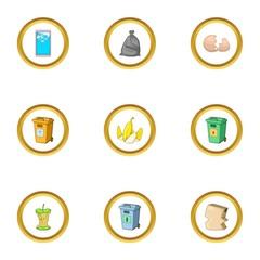 Trash icons set, cartoon style